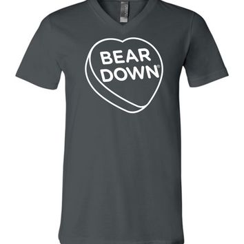 Official NCAA Venley University of Arizona Wildcats U of A Wilber Wildcat BEAR DOWN! Heart Candy Unisex V-Neck T-Shirt -