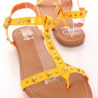 Orange Patent Faux Leather Studded Strappy Open Toe Sandals