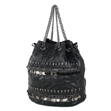 100% sheepskin rivet / skull genuine leather bag for women bucket bag ladies high quality shoulder Handbag with chain handle