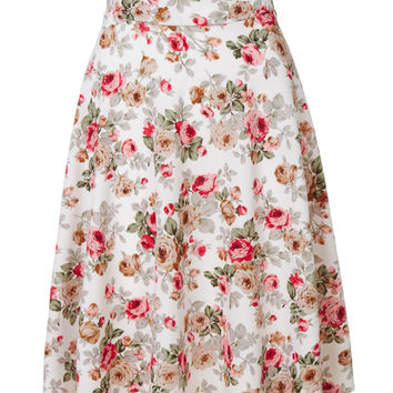 LE3NO Womens Lightweight Floral Print A-Line Flared Skater Skirt