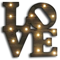 Crystal Art Gallery 'Love' Marquee Light Wooden Sign