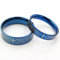 2pcs,couple ring,rings for couples, promise rings,couples promise rings,couples ring,blue cross ring,free engraving