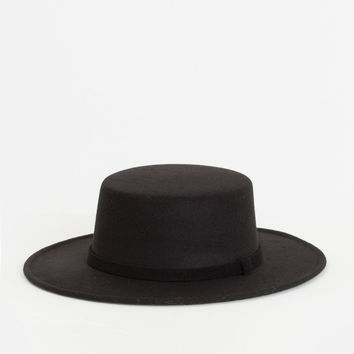 Nadine Black Boater Hat