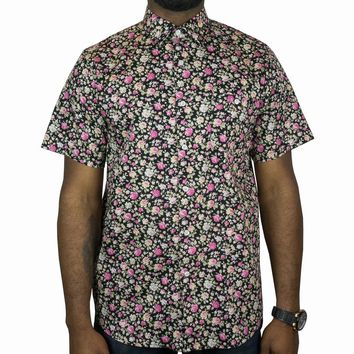 Carnations Short-sleeve Button-up in black, pink and olive