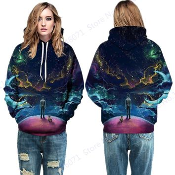 Psychedelic Space Galaxy Tracksuit Sweatshirt Starry Sky Sport Suit Autumn Hoody Womens Skateboard Hoodies Winter Loose Sweater