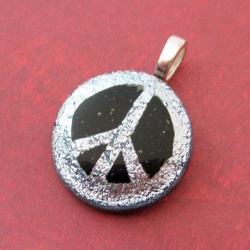 Peace Sign Pendant, Silver Dichroic Peace Sign, Fused Glass Pendant, Peace Sign Jewelry - Peace - 3481 -2