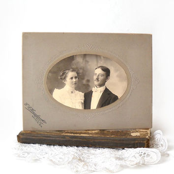 ON SALE - Couple Cabinet Card Photo, Young Man and Woman Photograph, Sepia Tone Black & White Portrait, Victorian Decor