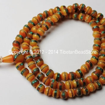 108 Beads - Tibetan Amber Copal Mala Prayer Beads with Turquoise, Coral, Brass & Copper Inlays - PB16S