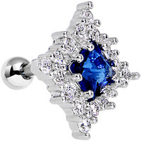 """16 Gauge Blue CZ Clear Paved Square Tragus Cartilage Earring 1/4"""" 