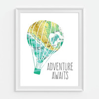 Vintage Map Hot Air Balloon Print 'Adventure Awaits' 5x7, 8X10, 11x14 Inspirational Quote Nursery Baby Print Wall Art, Home Decor Wall Art