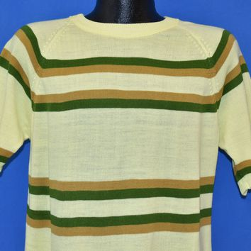 60s Yellow Striped Knit Surf t-shirt Medium