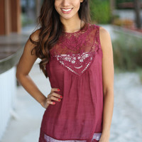 Wine Lace Top