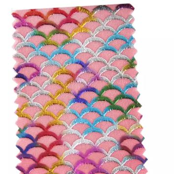 Light pink metallic rainbow mermaid scale faux leather fabric sheet