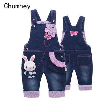 Baby Girl Overalls Spring Infant Cotton Jeans Rabbit Rompers Bebes Cartoon Clothes Toddler denim Pants jumpsuit Kids Clothing