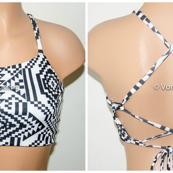 Black and White Aztec Tribal High Neck Halter Bikini Top, Criss Cross Adjustable Swimwear Bikini Top, 4Th Of July Bathing Suit, Festival Top