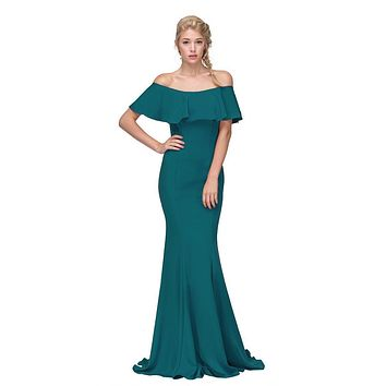Hunter Green Off Shoulder Ruffled Bodice Mermaid Floor Length Prom Gown