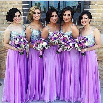 Sparkly Purple Bridesmaid Dresses A Line Spaghetti Strap Beaded Sequined Chiffon Wedding Guest Dress Long Pleats Zipper Cheap