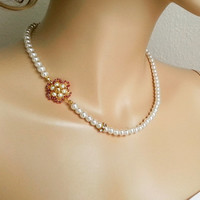 Pearl Necklace, Gold Bridal Necklace, Pearl Bridal Necklace, Floral Gold Wedding Necklace, Bridal Jewelry