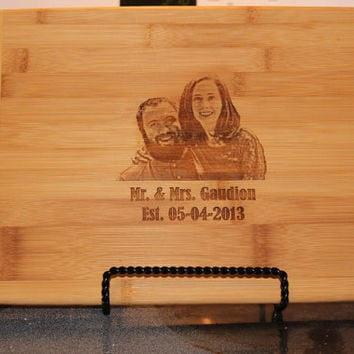 Personalized cutting board with photo of your choice,  cutting board with photo,  Monogram Cutting board, Wedding gift,  Anniversary gift
