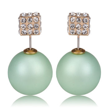 Gum Tee Tribal Earrings - Crystal Dice and Matte Mint Green