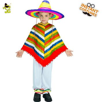 Cool New Arrival Kids Mexican Rainbow Costume Cosplay Halloween Party Costume Imitation Mexico CapeAT_93_12