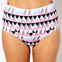 ASOS Pastel Graphic Print High Waisted Bikini Pant at asos.com