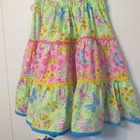 Handmade Girl's Skirt, Girl's clothes, gathered skirt, green and pink cotton material, multi colored butterflies, Spring / Summer, Size 10