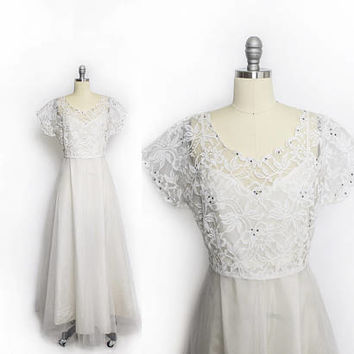 Vintage 1940s Dress - White Tulle & Lace Rhinestones Acetate Slip Wedding Gown - Large