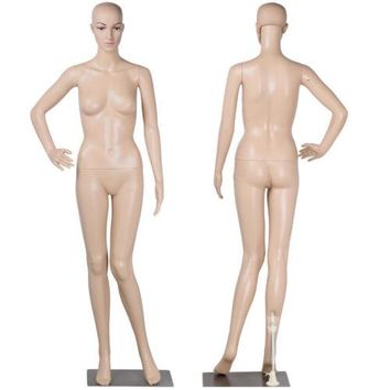 Full Body Female Mannequin Plastic Clothes Display Dress Form w/ Base