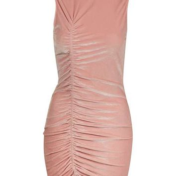 **Pink Velvet Ruched Mini Dress by Jaded - New In This Week - New In