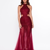 A&N Luxe Ximena Beaded Gown - Burgundy