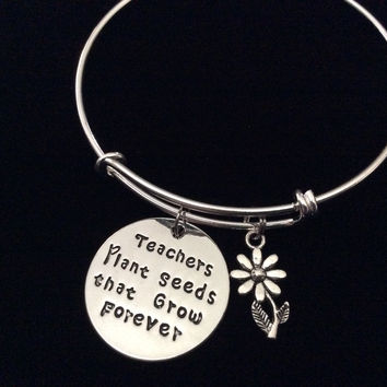 Teachers Plant Seeds that Grow Forever Expandable Silver Charm Bracelet Adjustable Bangle School Gift