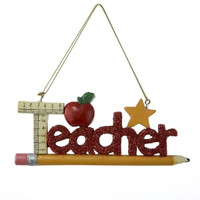 "Christmas Ornament -  "" Teacher ""  With School Supplies"