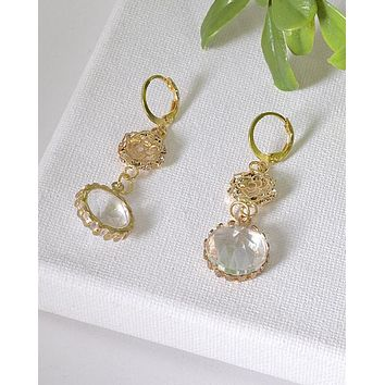 Floral Pattern and Crystal Studded Drop Earrings id.31602