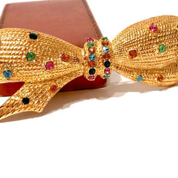 Multi Color Rhinestone Bow Brooch, Huge Ribbon Bow Pin, Gold Plated, Prong Set Rhinestones, Signed NLH,  Vintage 1980's 1990s, Gift For Her