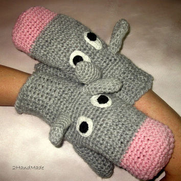 Funny Chunky Crochet Gloves Mittens Animal Puppets by 2HandMade