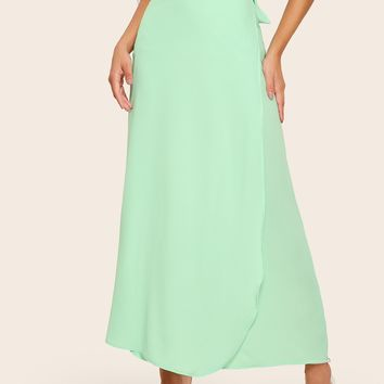Knot-side Wrap Maxi Skirt