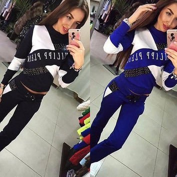 Fashion Womens Casual Tops Sweatshirt Pants Track & Sweat Suits 2 Pcs Tracksuit Women Clothes Sets