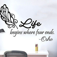 Wall Decals Quotes Osho Life begins where fear ends Phrase Home Decor C202