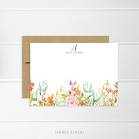 Personalized Notecard Set   Flat Notecard Set   Personalized Stationery   Floral Watercolor Notecards   Jolie