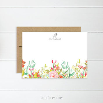 Personalized Notecard Set | Flat Notecard Set | Personalized Stationery | Floral Watercolor Notecards | Jolie