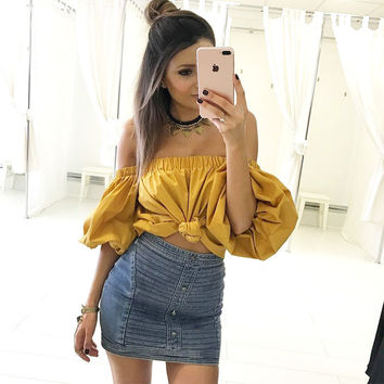 Sexy  One Shoulder Wind Shirt Top