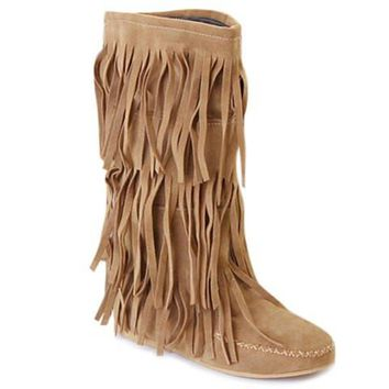 Fringed Mid-Calf Boots With Round Toe