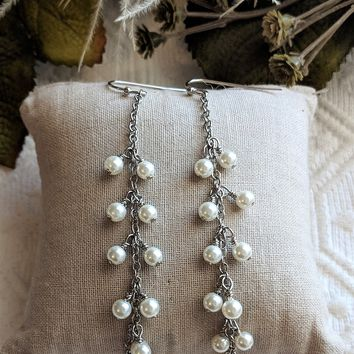 One of a Kind Artisan Crafted Long Sterling Silver Cultured Pearl Earrings