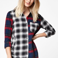 Meridian Mixed Flannel Plaid Button-Down Shirt