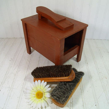 Vintage Wooden HandMade Shoe Shine Box - Rustic Storage Chest with Foot Rest - Retro Shop Class Project Piece - Handy Brown Painted Wood Bin