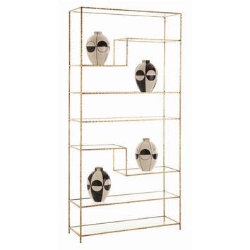 Arteriors Home Worcester Gold Leaf Iron/Glass Bookshelf - Arteriors Home 6817