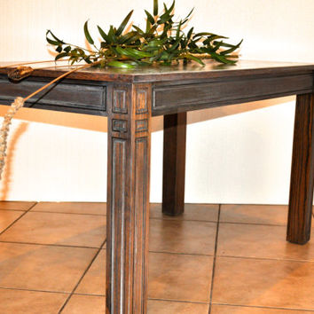 Kagumise's Custom Dining Table, Handcrafted, Hand Carved Hardwood Gray-Fumed  Exhibiting ART-DESIGN-DETAIL