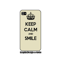 Iphone 4s , Keep Calm and Smile, Iphone 4 case, custom cell phone case, original design