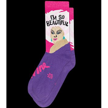 I'm So Beautiful Divine Crew Socks in Pink and Purple